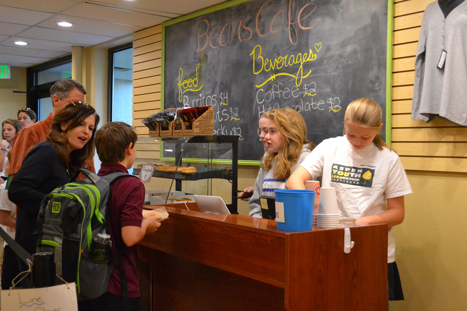 Aspen students running the Bear's Cafe